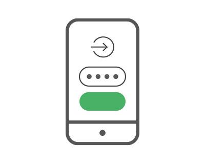 mobiilikäyttövaiheen 1 kuva, jossa puhelimeen syötetään käyttäjätunnus