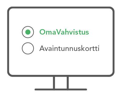 vaiheen 1 kuva, jossa tietokoneella tunnistautumistavaksi valittu OmaVahvistus
