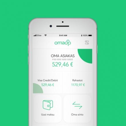 Kuvassa puhelin jossa auki Oma Säästöpankin OmaMobiili -sovellus